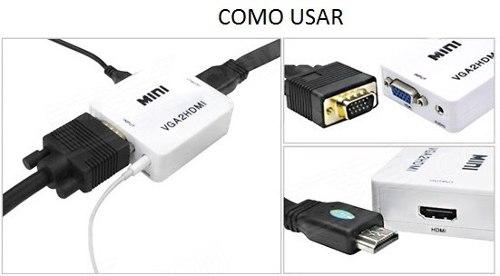 Resultado de imagem para Mini Adaptador Cabo Conversor Adaptador VGA p/ HDMI Com Saida De Audio - 1080p