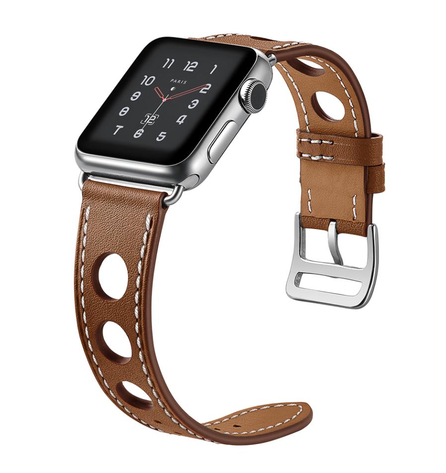 efd26bb077c Pulseira Couro Estilo Hermes Furos Apple Watch 42mm - Mar