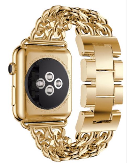 a4bea1a7337 Pulseira De Aço Trançado P  Apple Watch 38mm - Dourado