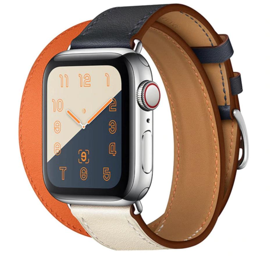 ba2ce1ecd24 Pulseira Estilo Hermes 2 Voltas P Apple Watch 38 40mm 3co